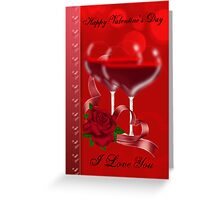 Valentine's Day Card With Heart Shaped Red Wine Glasses Greeting Card