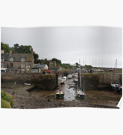 Low tide in the harbour Poster