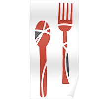 Abstract silverware design Poster