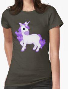 Cute Purple Cartoon Unicorn on Glitter Background T-Shirt