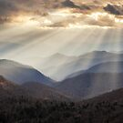 Crepuscular Light Rays on Blue Ridge Parkway - Rays and Ridges by Dave Allen