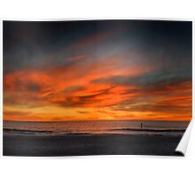 Lone Paddle Boarder at Sunset Poster