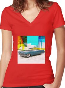 1960 Cadillac Convertible Women's Fitted V-Neck T-Shirt
