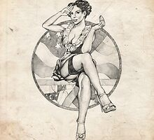 4th of July USA Pinup Girl Sketch by Brent Schreiber