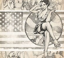 Sketchy Girls America 2013 Calendar Cover by Brent Schreiber