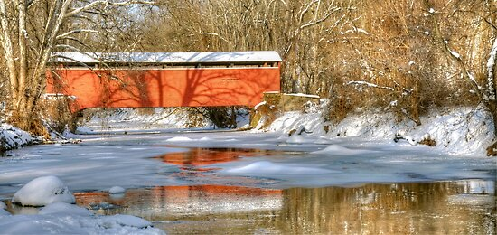 Winter at Foxcatcher Covered Bridge by Monte Morton