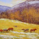 Cows on December day by Julia Lesnichy