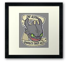Toothles - The Alpha Protects Them All Framed Print