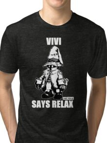 Vivi Says Relax - Monochrome White Tri-blend T-Shirt