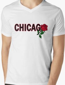 Chicago Rose│Black Mens V-Neck T-Shirt