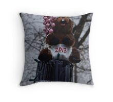 The New Year Ground Hog Throw Pillow