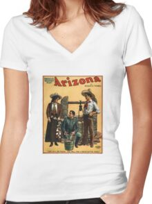 Vintage Arizona poster Women's Fitted V-Neck T-Shirt