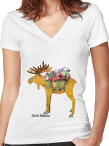 Gold Moose Women's Fitted V-Neck T-Shirt