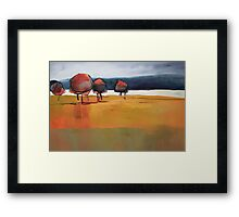 Red Trees Abstract Painting Framed Print