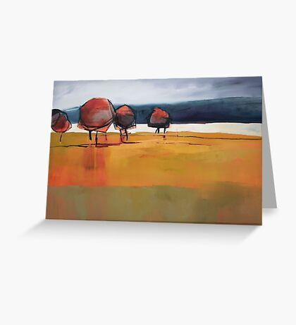 Red Trees Abstract Painting Greeting Card