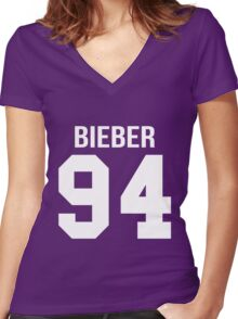 Justin Bieber - College style [WHITE] Women's Fitted V-Neck T-Shirt