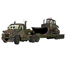 Military Semi Bulldozer Heavy Hauler Cartoon Photographic Print