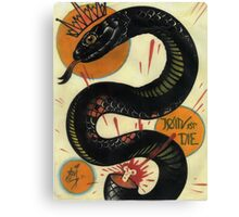 join or die, socialist black snake, tattoo art Canvas Print