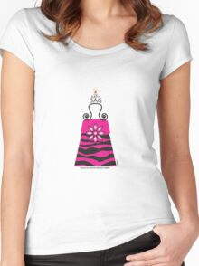 The Katy Bag / Black & Fuchsia Fantasy Zebra Women's Fitted Scoop T-Shirt