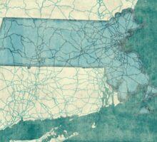 Massachusetts Map Blue Vintage Sticker