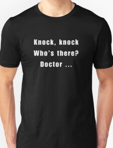 Dr Who ~ Knock Knock tee shirt White text T-Shirt