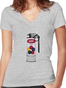 Gary Gorilla Can Grenade Women's Fitted V-Neck T-Shirt