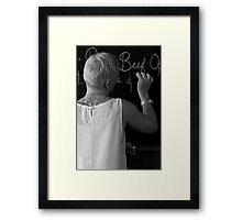 tattooed lady with chalk. Framed Print