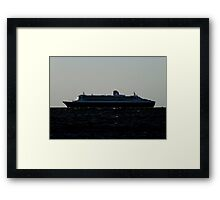 Queen Mary 2 leaving outer harbour Framed Print