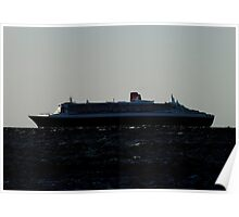 Queen Mary 2 leaving outer harbour Poster