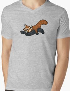 Red Panda leaping Mens V-Neck T-Shirt