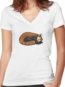 Red Panda sleeping Women's Fitted V-Neck T-Shirt
