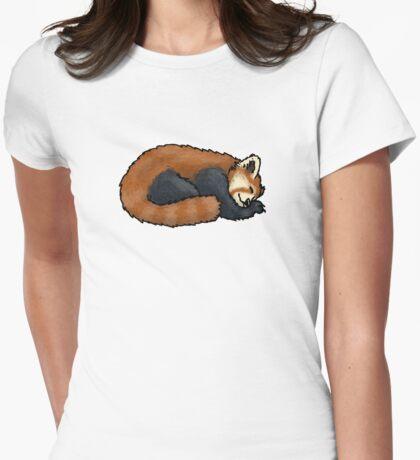 Red Panda sleeping Womens Fitted T-Shirt