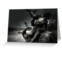 Rainy Day Statue On The Seine River Greeting Card
