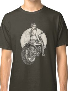 Retro Motorcycle Pinup Girl T-Shirts and Hoodies Classic T-Shirt