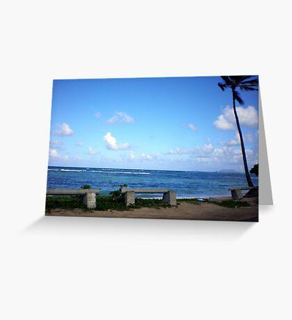 Hawaiian Beach with Brilliant Blue Skies Greeting Card
