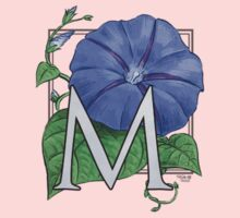 M is for Morning Glory - patch shirt Kids Tee