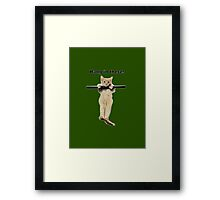 hang in there baby cute kitty cat kitten on branch  Framed Print