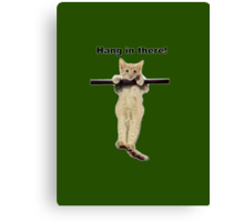 hang in there baby cute kitty cat kitten on branch  Canvas Print