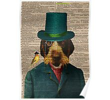 Antique Dictionary Page Wirehaired Griffon Poster