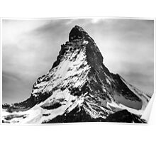 Iconic Alpine Mountain Matterhorn in Black and White Poster