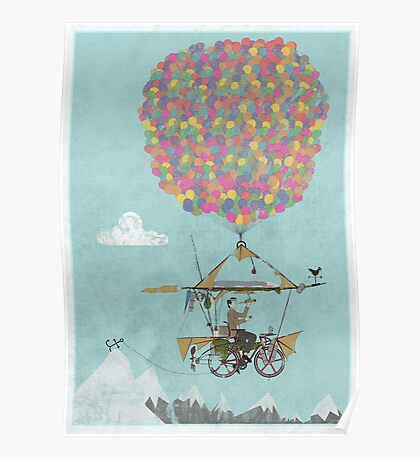 Riding A Bicycle Through The Mountains Poster