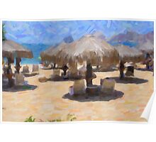 Palapas On The Beach Poster