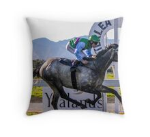 First to the finish  Throw Pillow