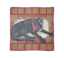 Ted on Red, Black Lab Scarf