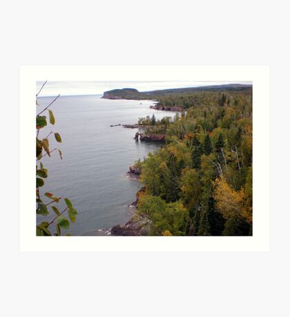 Distant View of Palisade Head at Lake Superior Art Print