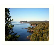Distant View of Palisade Head at Lake Superior under Blue Sky Art Print