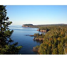 Distant View of Palisade Head at Lake Superior under Blue Sky Photographic Print