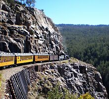 Colorado Durango Train Along Sheer Cliff by Steve Upton