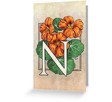 N is for Nasturtium card Greeting Card