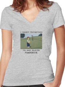 Lee Carvello's Putting Challenge Women's Fitted V-Neck T-Shirt